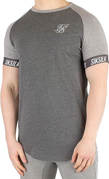Sik Silk Hombre Camiseta Contrast Tech, Gris, Small: Amazon.es: Ropa y accesorios