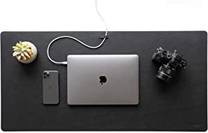 Leather Desk Mat with Cable Organizer (Pebble Black 35 X 17 inch) Premium Extended Mouse Mat for Home Office Accessories - Non-Slip Vegan Leather Desk Pad Protector & Desk Blotter Pad