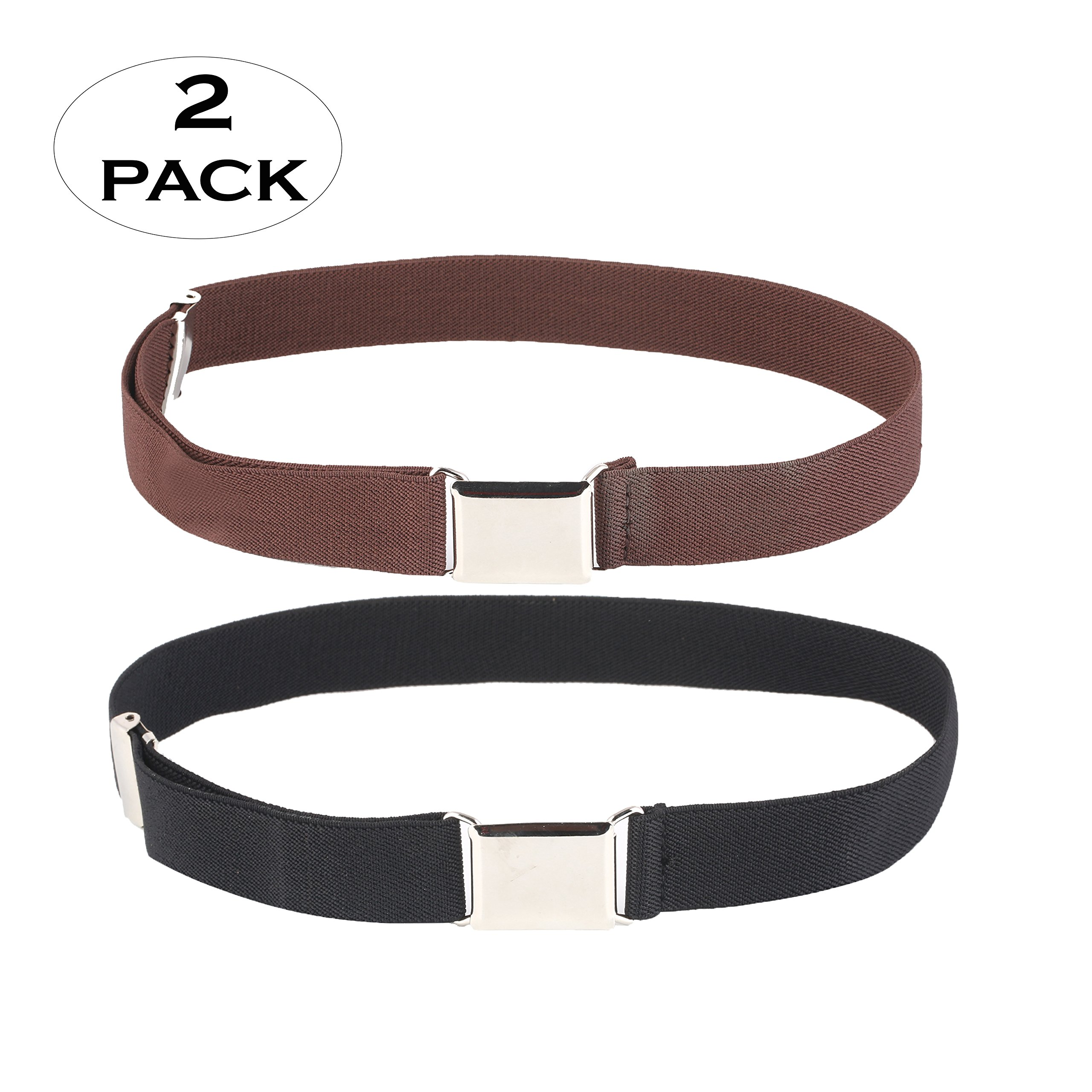 Kids Adjustable And Elastic Dress Stretch Belt with Silver Buckle(60-1702-Black,Brown)