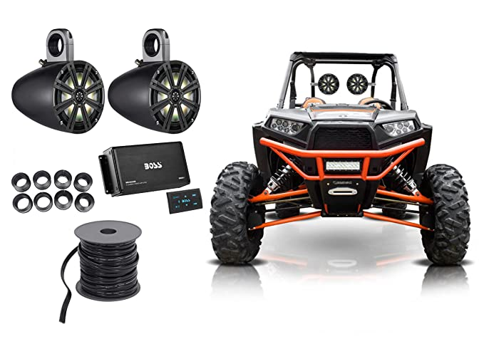 "(2) KICKER 8"" 600w LED Tower Speakers+4-Ch Bluetooth Amp 4 Polaris RZR/ATV/UTV"
