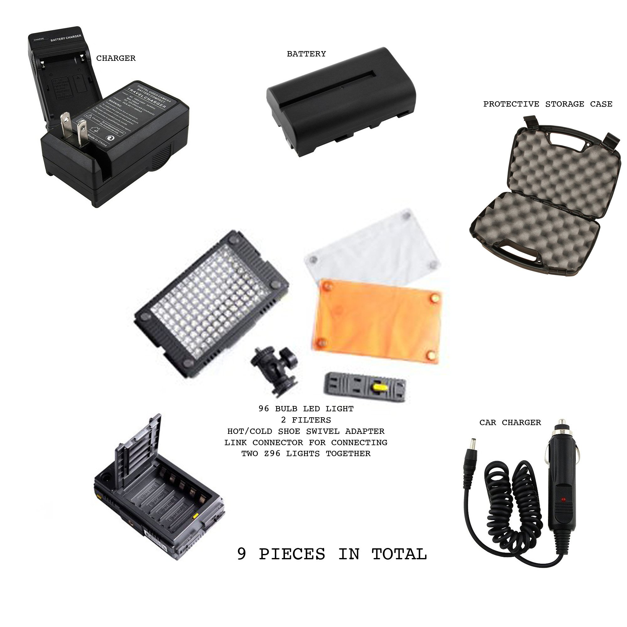 HDV-Z96 plus extras 9 Piece Light kit Bundle for Dslr Photo / Video includes HDV-Z96 LED Light Panel made by F and V, 2 Magnetic Filters, Cold Shoe Ball Joint Mount, Connector Plate, Rechargeable Battery, Battery Charger, Car Cigarette Charger Cable, Prot