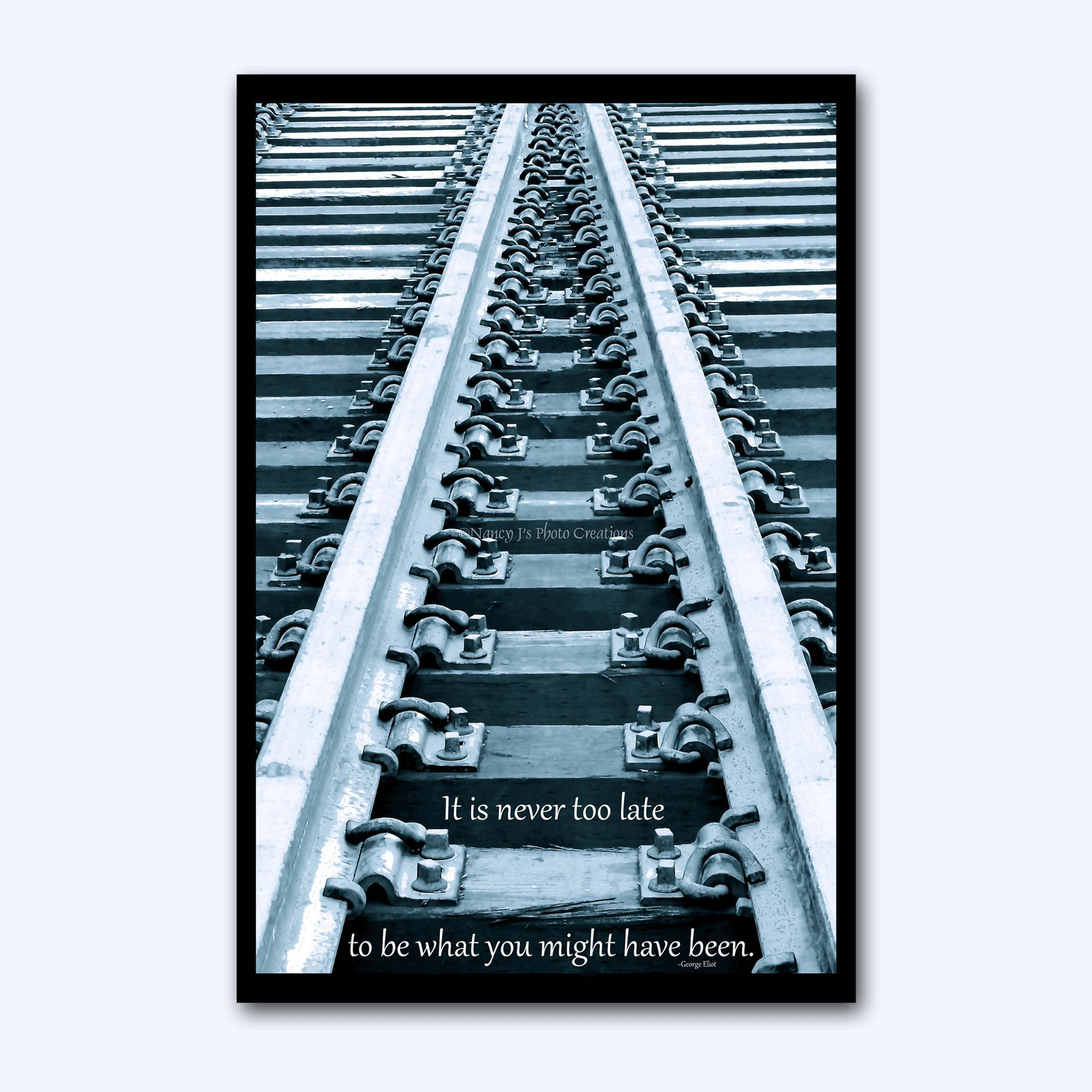 Inspirational Wall Art High Gloss PHOTO on ALUMINUM Motivational Quote Office Decor Railroad Tracks Photography Gift for Him or Her Career Change 8 x 12'' IN STOCK Ready to Ship and Hang