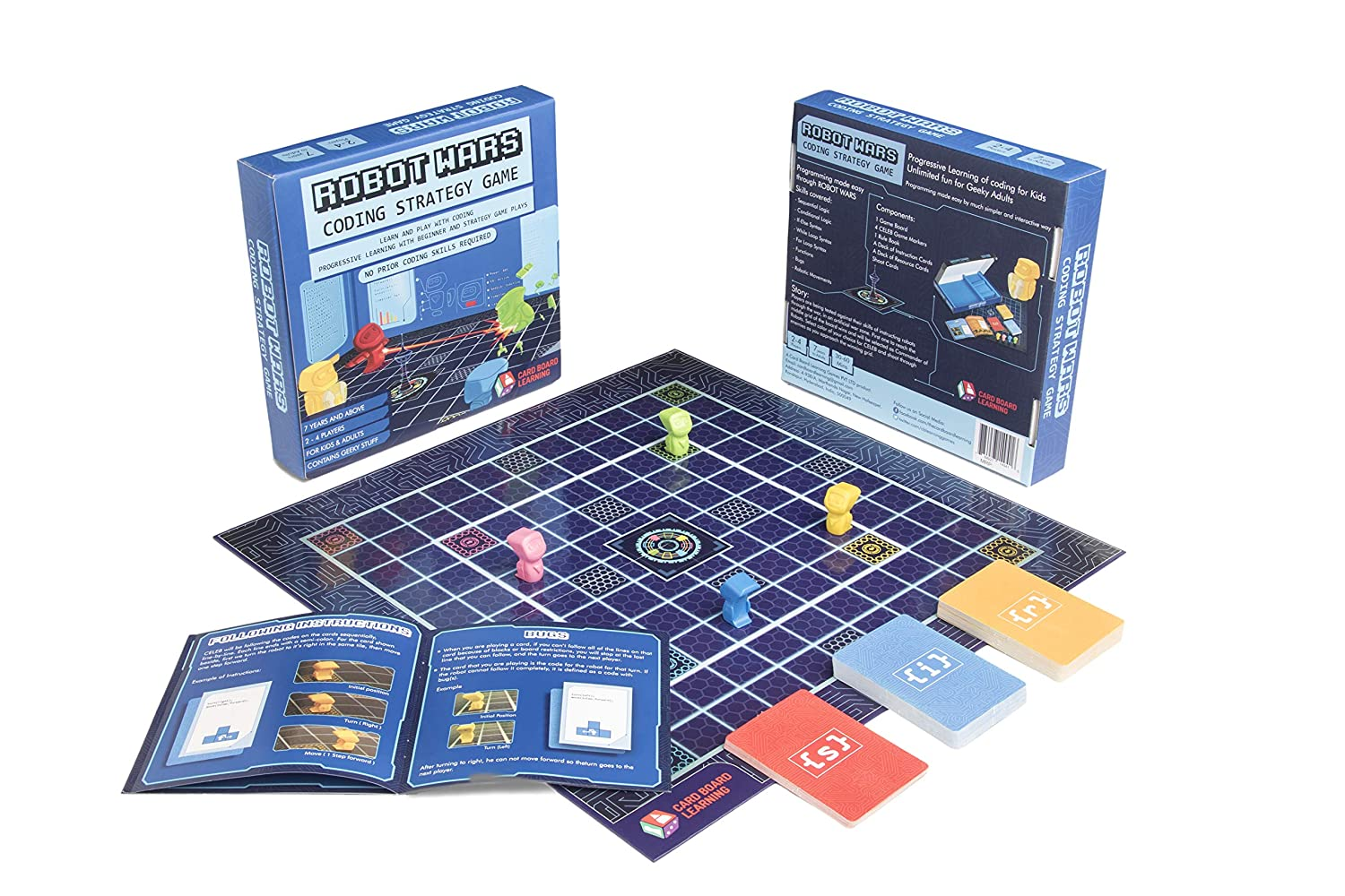 ROBOT WARS Coding Board Game - Learn and Play with Computer Programming   Geeky STEM Toy and Gift for Boys and Girls ages 7 years and up  No Prior
