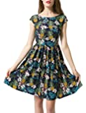 Women's Floral Print Backless Summer Beach Party Swing Solid Flare Shift Casual Dress Skirted Bikini for Vacation Party Home