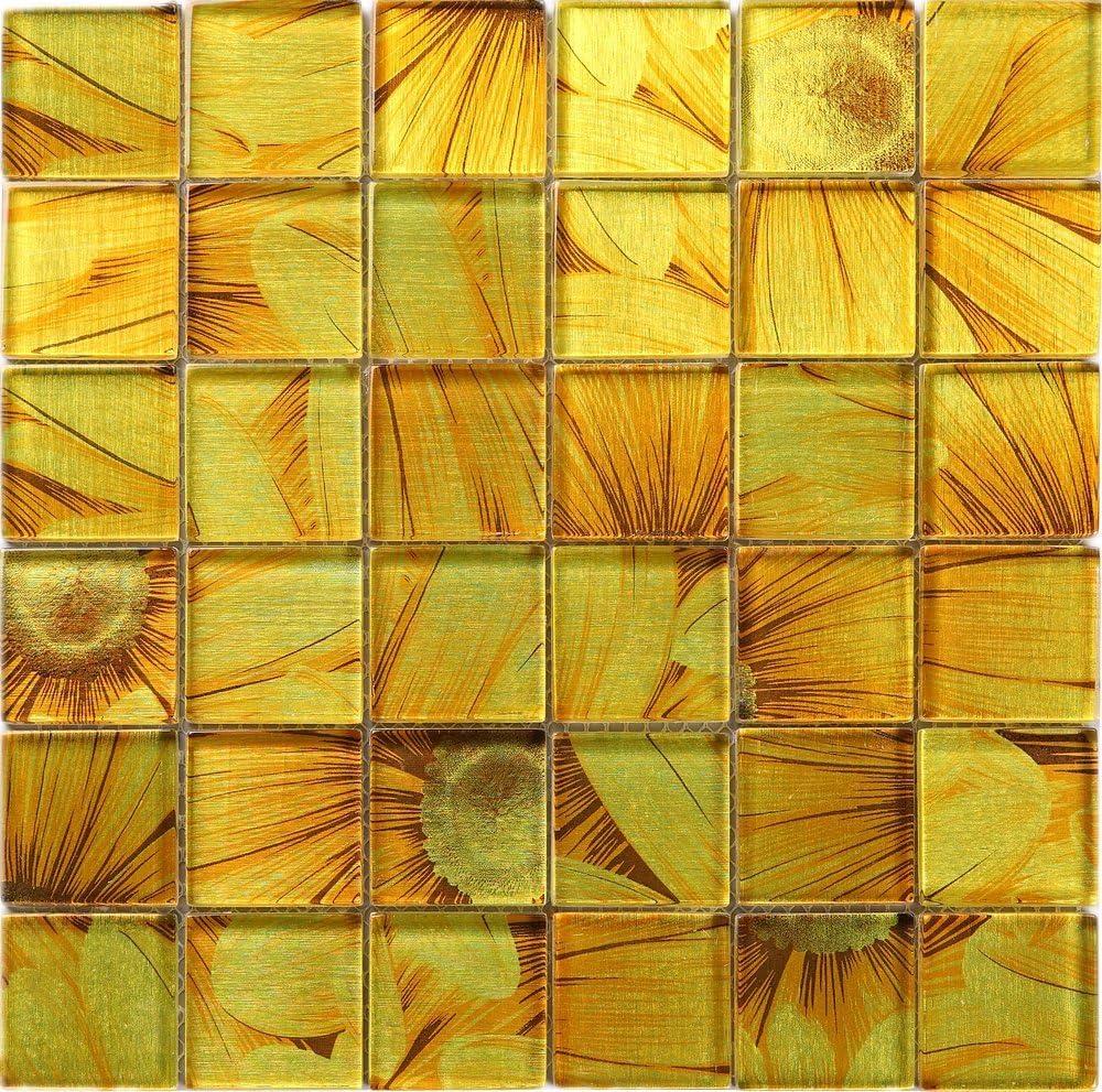 Amazon Com Tlg 05 Sun Flower Yellow Orange 2x2 Glass Mosaic Tile Backsplash For Kitchen And Bath 10 Sheets Home Kitchen