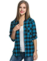 Women's Plaid Flannel Shirt, Roll Up Long Sleeve Checkered Cotton Shirt