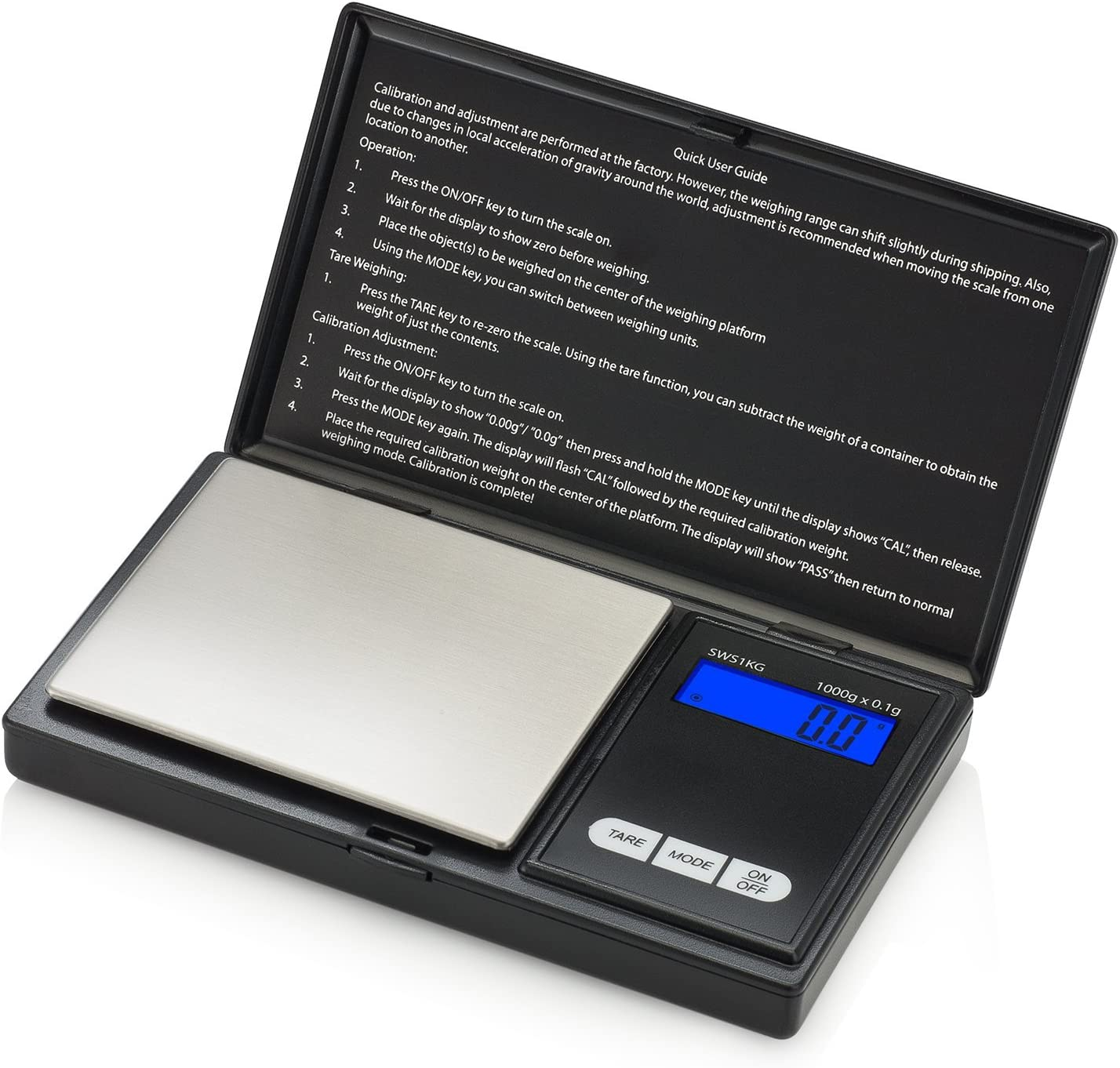 Smart Weigh Digital Pocket Gram Scale, 1000 x 0.1 Grams, Small Digital Scales Grams and Ounces, Jewelry Scale, Portable Travel Food Scale, Kitchen Scale Battery Included