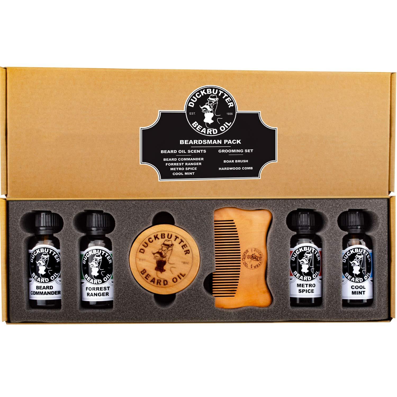 DUCKBUTTER Huile naturelle pour barbe de DuckButter (Beard Oil) Lot Beardsman - 4 parfums avec coffret cadeau comprenant une brosse et un peigne product image