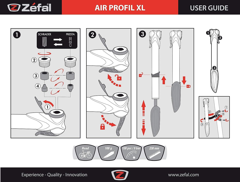 Zefal Air Profil XL Mini Pump Silver//Black