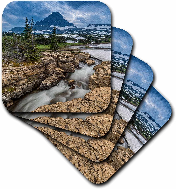 Montana Ceramic Tile Coasters Multicolor 3D Rose Snowmelt Stream in Glacier National Park