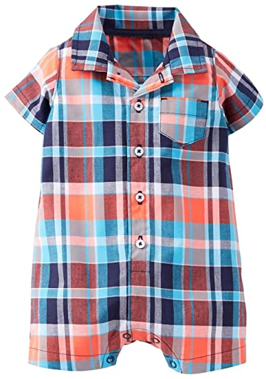 f75a2d1c530 Amazon.com  Carter s Baby Girls  Check Romper (Baby) - Red Blue ...