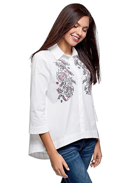 f188a8ca823eeb oodji Ultra Donna Camicia Larga con Ricamo: Amazon.it: Abbigliamento