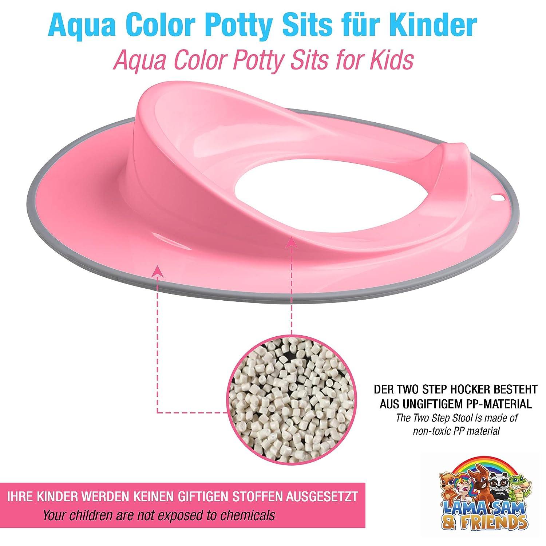 Toilettensitz f/ür Kleinkinder Rosa mit grauem Rand
