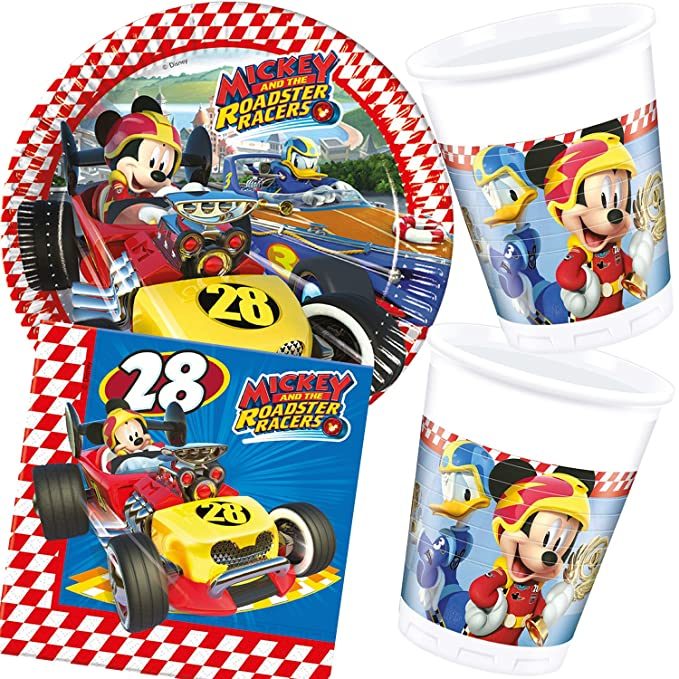 37 piezas Party * Mickey Roadster * con plato + taza + ...