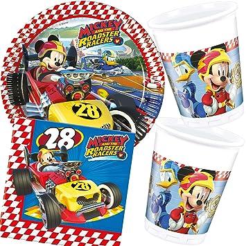 37 Teiliges Partyset Mickey Roadster Mit Teller Becher