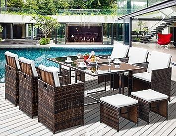 Amazoncom Leisure Zone 11Piece Outdoor Rattan Wicker Patio Dining