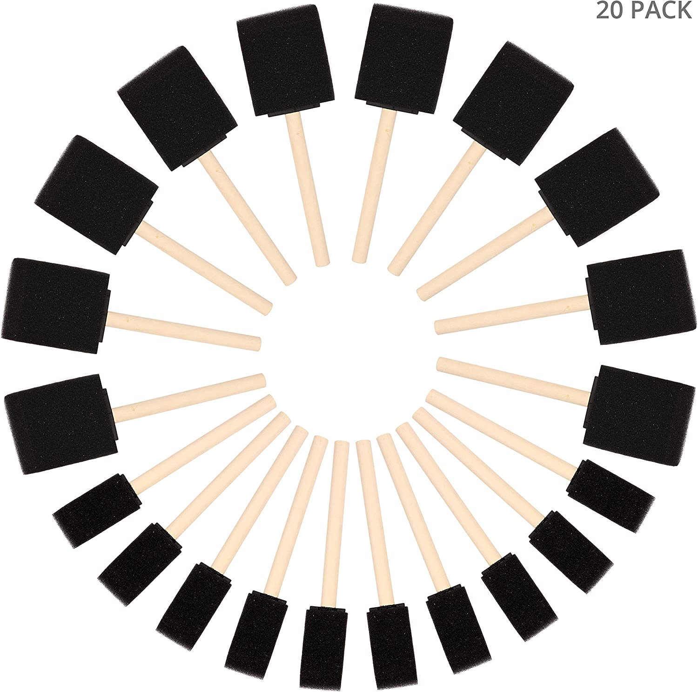 Kurtzy Brocha de Esponja para Pintar (Pack de 20) - Dos Tamaños - Set Pincel Espuma Mango de Madera – Herramienta Pintar Acrílico, Oleo, Tinte y Acuarela - Esponja Pintura Manualidad Adultos