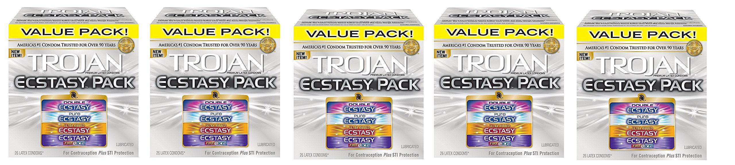 Trojan Ecstasy Pack Lubricated Condoms, 130 Count by Trojan