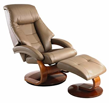 Comfort Chair Euro Style Recliner With Ottoman In Top Grain Leather,  Sand/Walnut