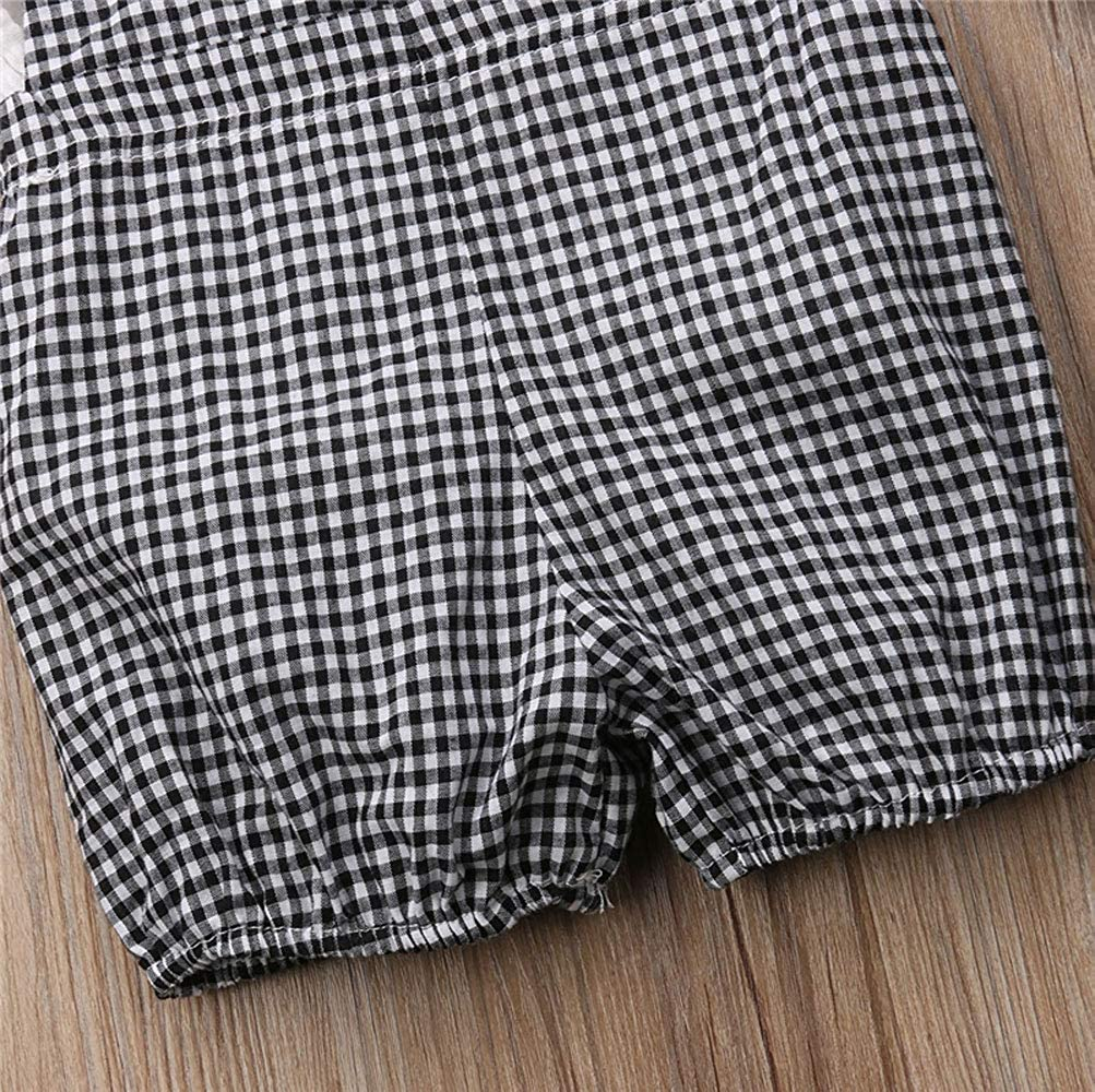 Plaid Short Overalls ZOELNIC Baby Girls Suspenders Pants Set Long Sleeve Shirt