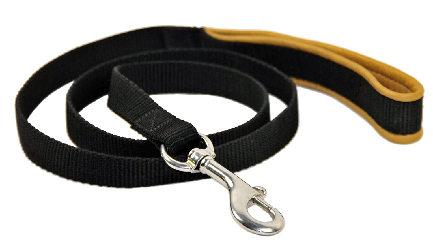 Dean & Tyler Padded Puppy Double Ply Nylon Dog Leash with Brown Padded Handle and Stainless Steel Hardware, 3-Feet by 3 4-Inch, Black