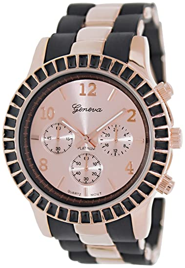 Geneva Platinum 9294.BLACK.ROSEGOLD Mujeres Relojes