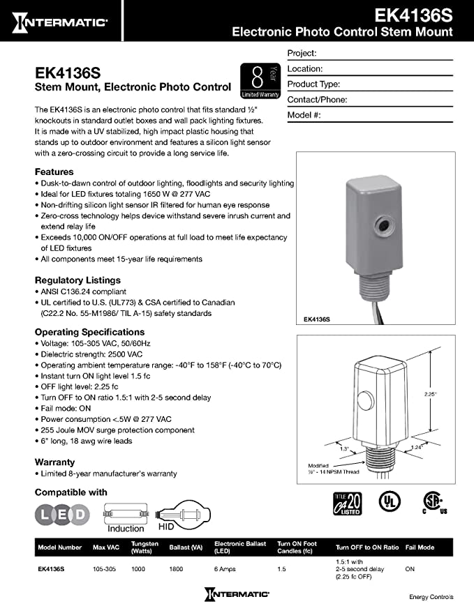 Intermatic EK4136S Select Grade Fixed Mount Electronic Photocontrol with  Stem and Side Lens
