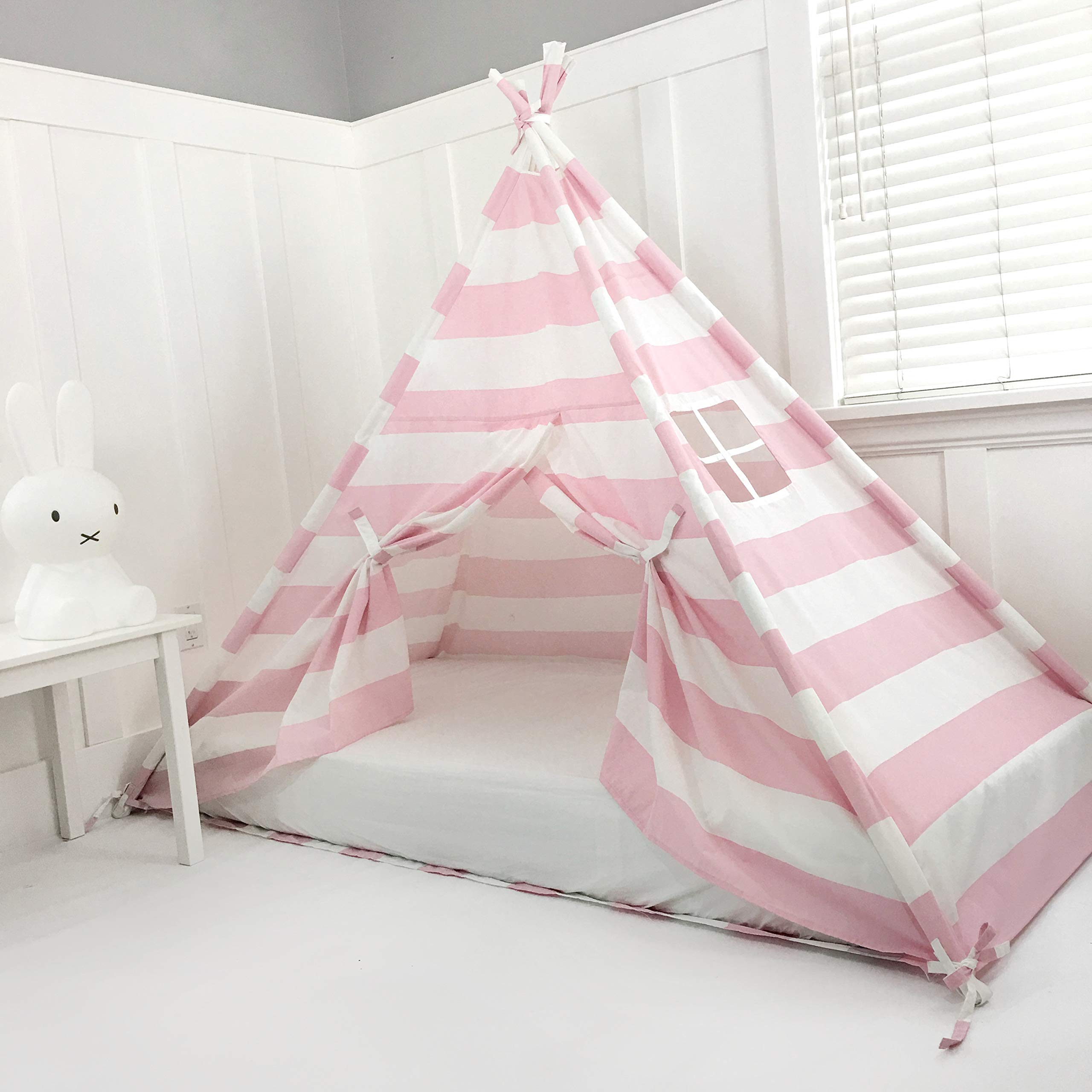 Domestic Objects Handmade Pink Striped Cotton Canopy Play Tent Toddler Bed. Great for Transitioning from Crib to Bed