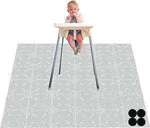Paw Legend Washable Highchair Splat Floor Mat- Anti-Slip Silicone Spot Splash Mess Mat(53'' X 53'')-Food Catcher Art Craft Leak Proof Mat,Rudder
