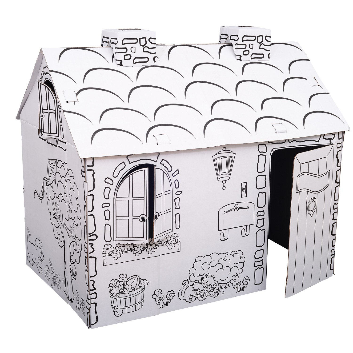 amazoncom kids folding cardboard paper house coloring playhouse kit town cottage toys games
