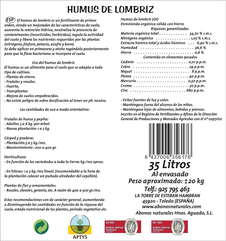 ABONOS NATURALES HNOS. AGUADO S.L. Humus de Lombriz 35 litros ...