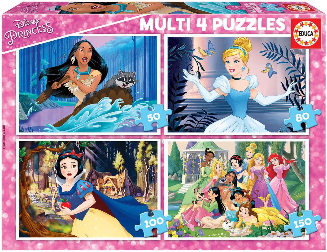 Educa - Multi 4 Puzzles Junior, puzzle infantil Disney Princess de 50,80,100 y 150 piezas, a partir de 5 años (17637)