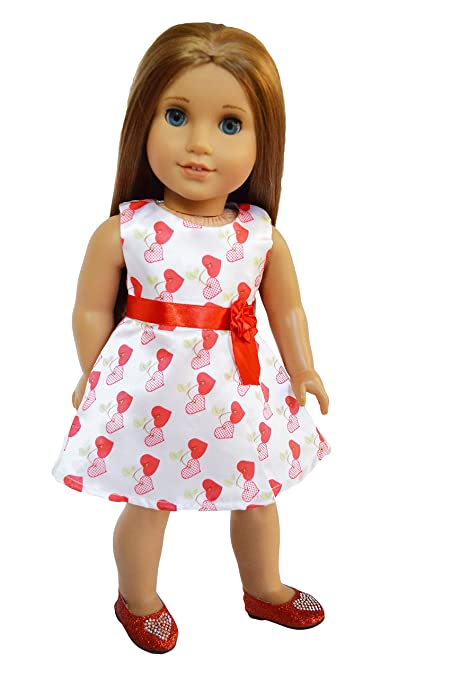 cc1b3d7681 Image Unavailable. Image not available for. Color  Brittany s My Valentines  Day Satin Heart Dress Compatible with American Girl Dolls- 18 Inch Doll