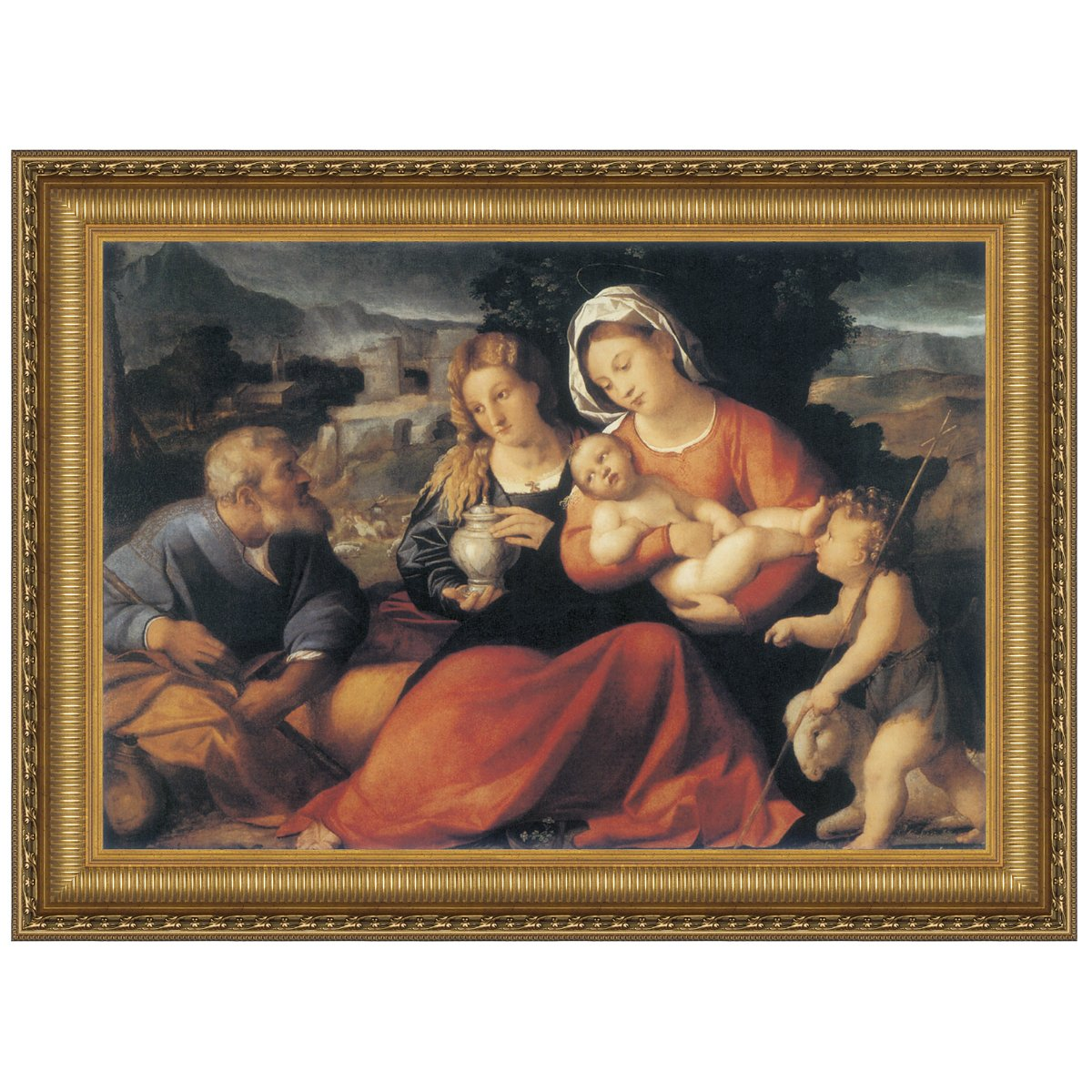 Design Toscano Holy Family with the Young Saint John and Mary Magdalene, 1490: Canvas Replica Painting, Large