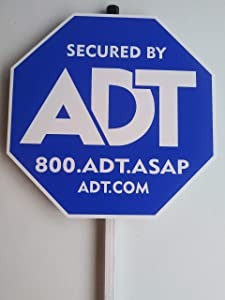 "Security ADT Yard Signs 10"" x 10"" with Aluminum Post 36""."