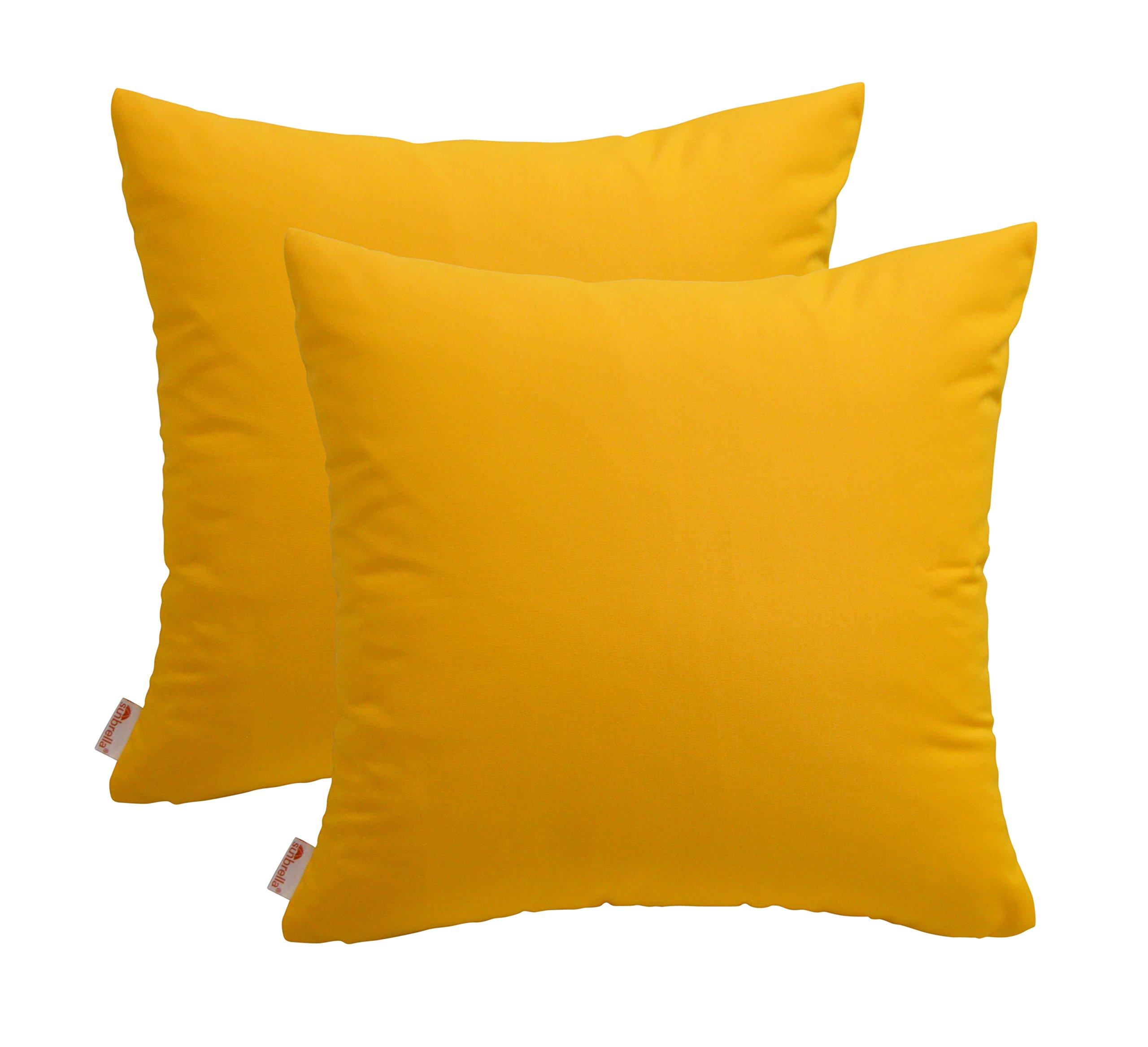 RSH Décor Set of 2 Indoor/Outdoor Decorative Throw Pillows Sunbrella Sunflower Yellow - 22'' x 22''