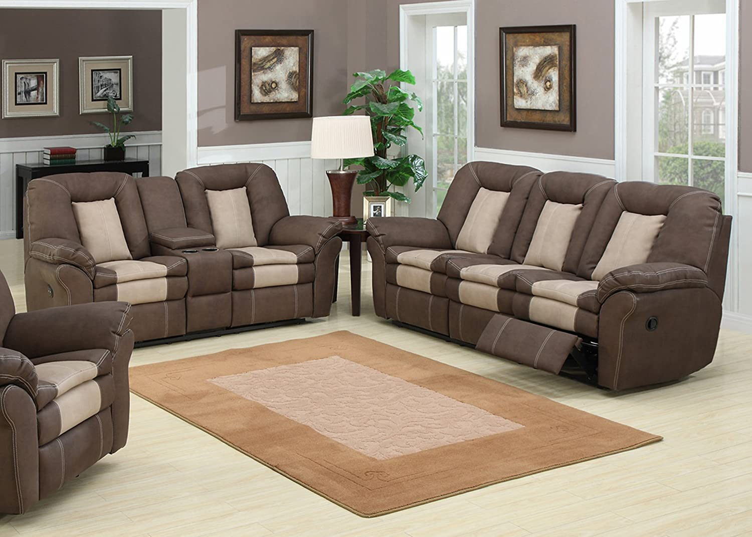 Amazon com ac pacific 2 piece 2 tone leather living room set with 4 recliners sofa and loveseat brown kitchen dining