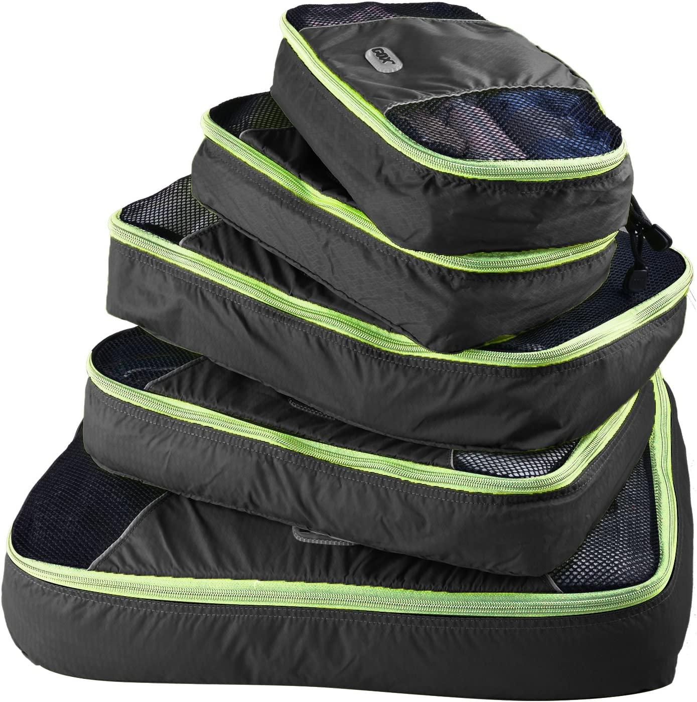 GOX Ultra Light 5 piece Packing Cubes Travel Luggage Organizers Laundry Bag 1 Large 2 Medium 2 Small (Black)