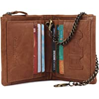 HorsePower Men's Leather Wallet Coin Purse Small Mini Card Holder Chain Wallet One Size Tan
