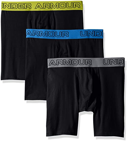 "cf2f58a7 Under Armour Men's Charged Cotton Stretch 6"" Boxerjock - 3-Pack, Black  /"