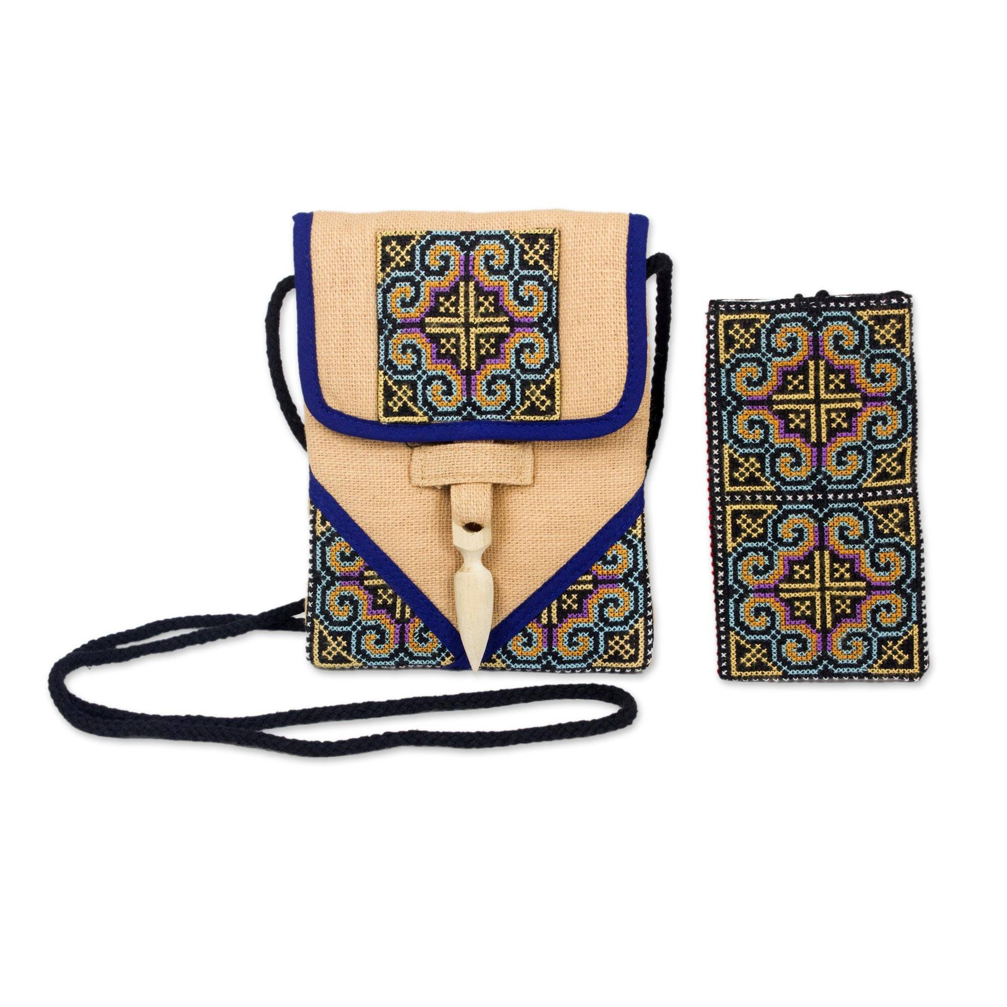 NOVICA Beige Hemp Purse and Phone Pouch, 'Ultimate Blue' by NOVICA