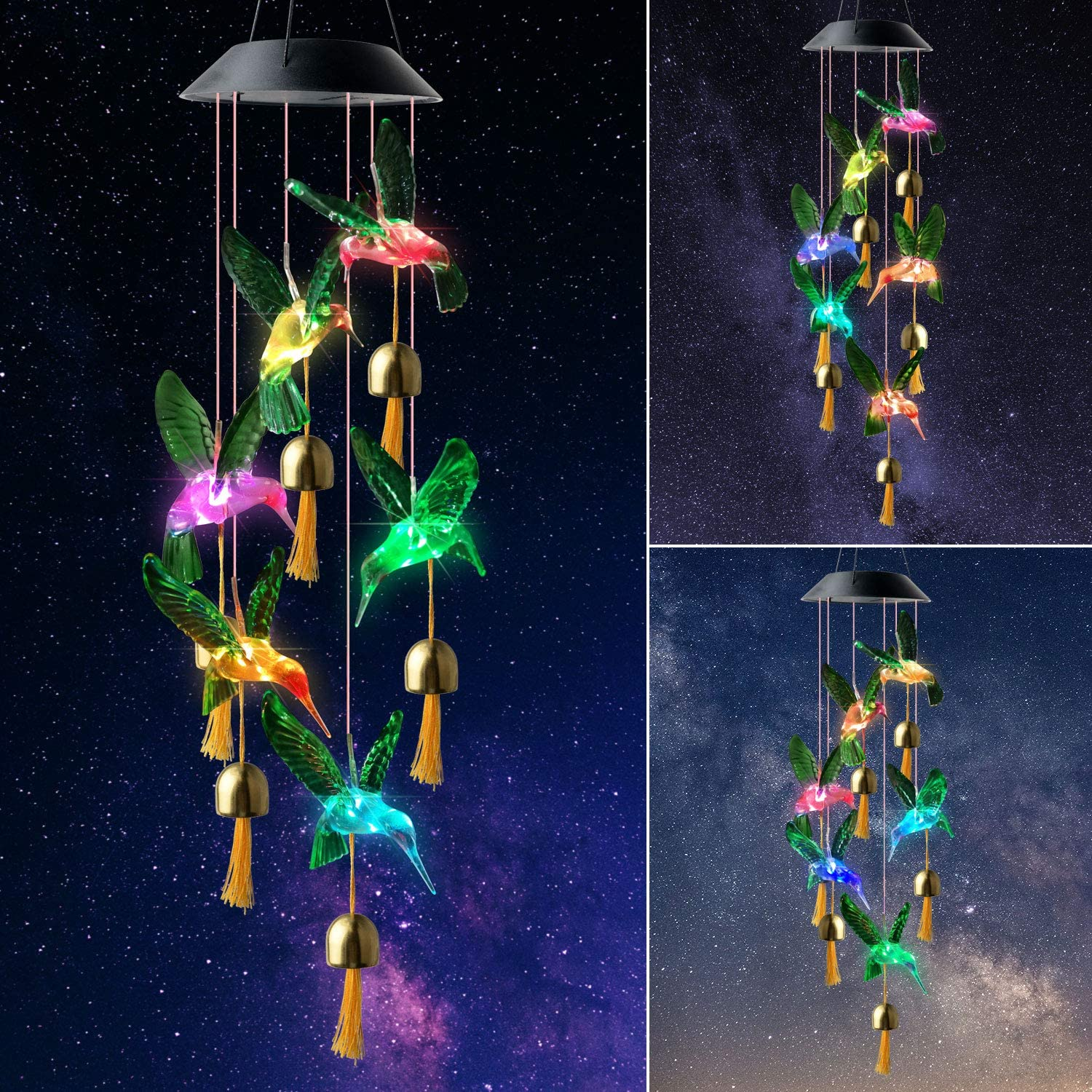 ShangTianFeng Green Hummingbird Bell with Black Cover Birthday Gifts mom+Gifts Gifts for mom Unique Birthday Gifts for Women Gifts for Grandma Hummingbird Solar Wind Chimes Gardening Gifts