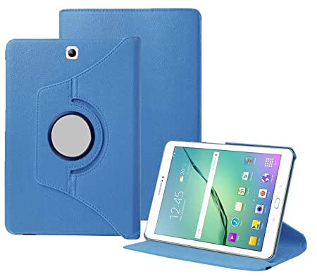 TGK 360 Degree Rotating Leather Smart Rotary Swivel Stand Case Cover for Samsung Galaxy Tab S2 9.7 inch  SM T810/T813/T815/T819  Sky Blue Bags,Cases