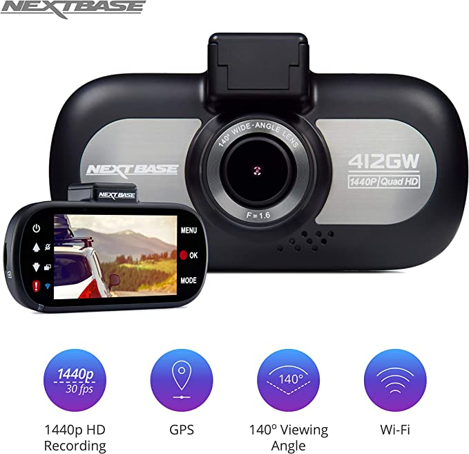 32GB SD Card and Case Hardwire Kit Nextbase 412GW 1440p HD In-Car Dash Camera Video Recorder with WiFi and GPS Bundle Kit with Mount