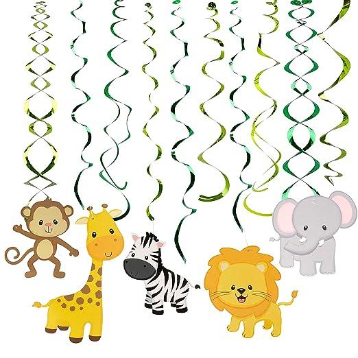 Decoraciones de Remolinos 30 Piezas Salvaje Selva Animal Adornos de Espirales Colgar para Infantiles Niños Fiestas de Cumpleaños Suministros ...