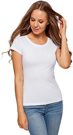 oodji Ultra Mujer Camiseta Básica de Algodón (Pack de 2): Amazon ...