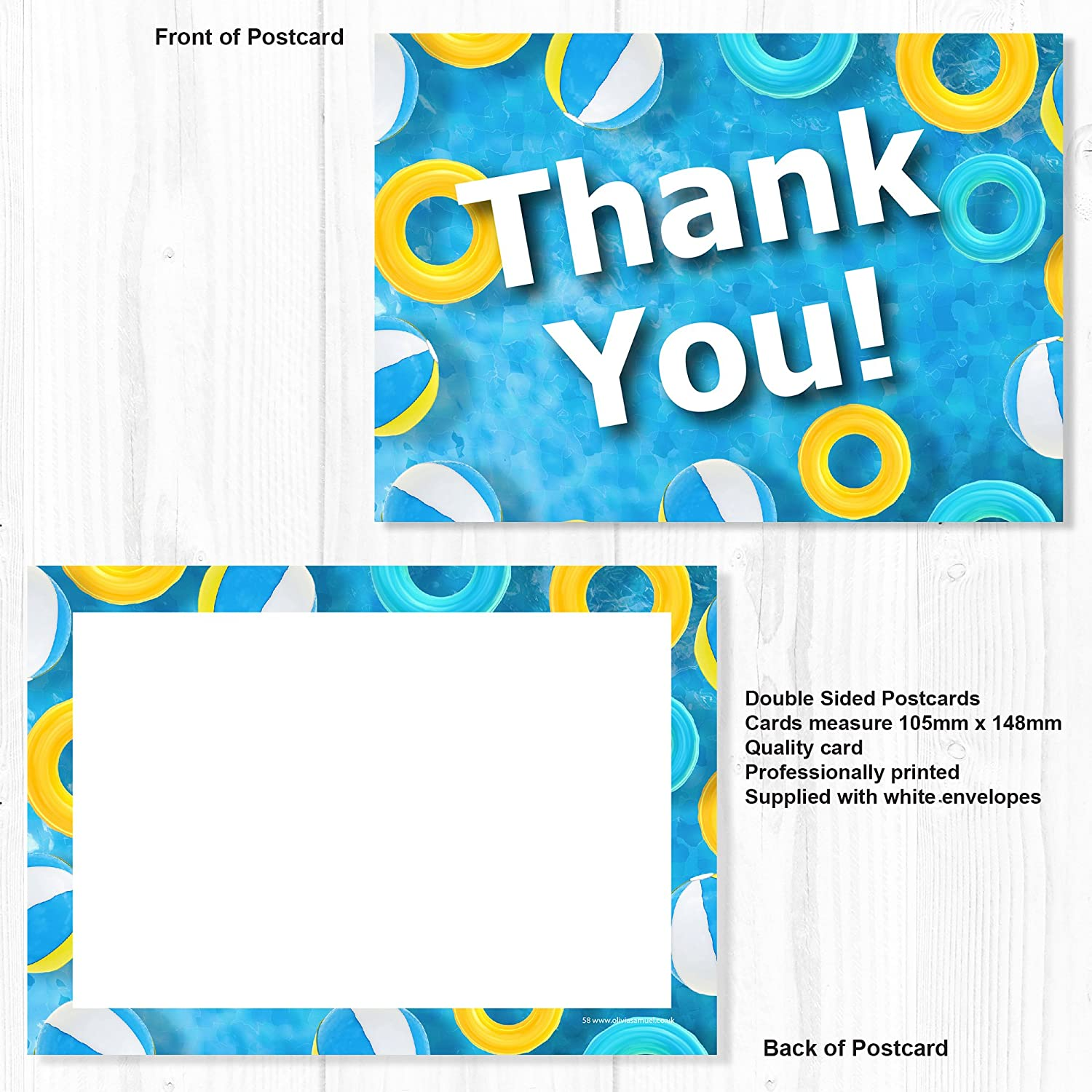 Pack of 10 Olivia Samuel Swimming Pool Party Thank You Cards A6 Postcard Size with envelopes