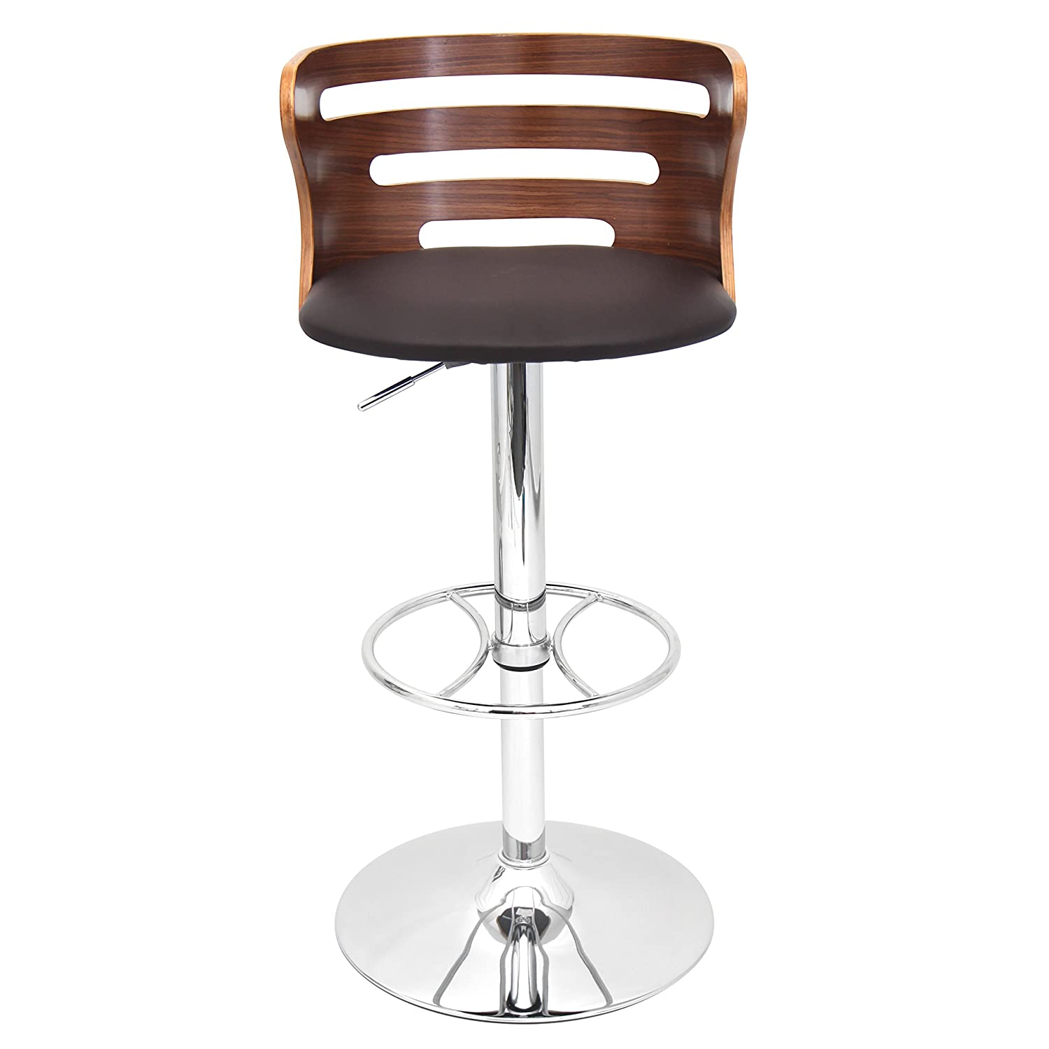 amazoncom lumisource cosi height adjustable midcentury with swivel modern barstool walnutbrown kitchen u0026 dining