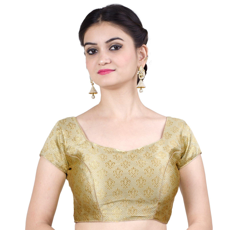 Chandrakala Women's Designer Bollywood Readymade Gold Saree Blouse Padded Brocade Choli (B113GOL2)