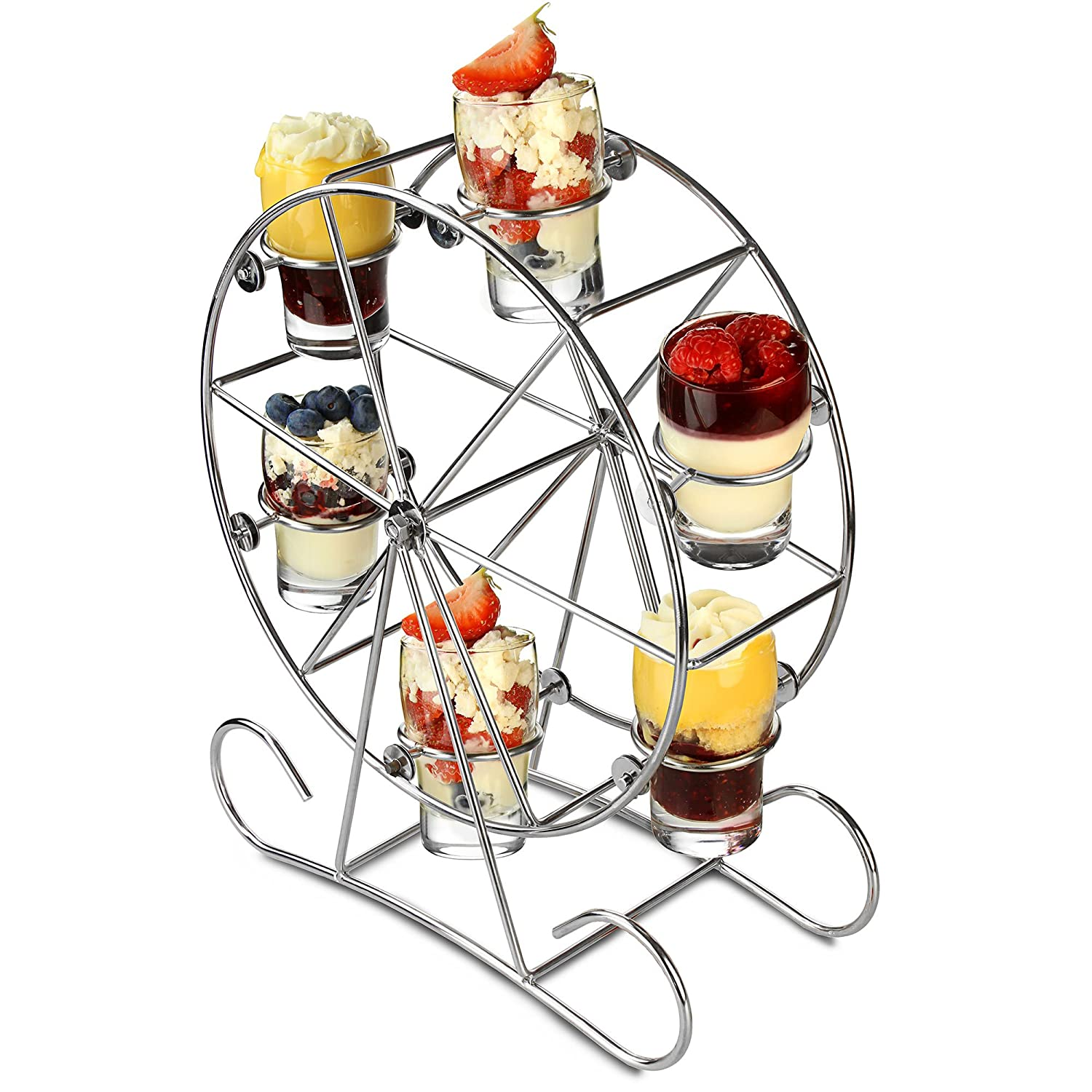 Ferris Wheel Appetiser Set - Revolving Shot Glass Stand for Drinks and Canapes dine@drinkstuff
